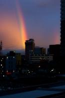 Tras un día de lluvia fina y revitalizante, aparece un nítido arco iris. No todos los días de arco iris son días de nítidos arco iris.